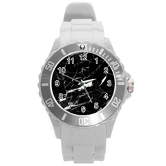 Black Texture Background Stone Round Plastic Sport Watch (l)