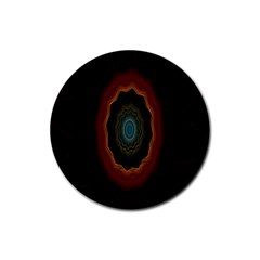 Cosmic Eye Kaleidoscope Art Pattern Rubber Round Coaster (4 Pack)