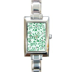 Leaves Foliage Green Wallpaper Rectangle Italian Charm Watch
