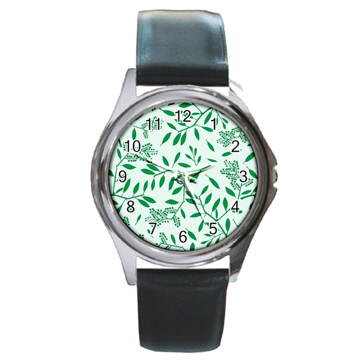Leaves Foliage Green Wallpaper Round Metal Watch