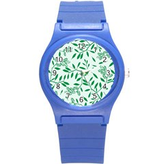 Leaves Foliage Green Wallpaper Round Plastic Sport Watch (s)