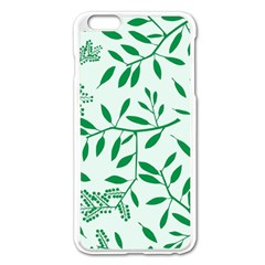 Leaves Foliage Green Wallpaper Apple Iphone 6 Plus/6s Plus Enamel White Case
