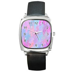 Space Psychedelic Colorful Color Square Metal Watch