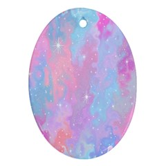 Space Psychedelic Colorful Color Oval Ornament (two Sides)