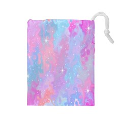 Space Psychedelic Colorful Color Drawstring Pouches (large)