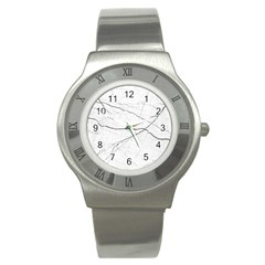 White Background Pattern Tile Stainless Steel Watch