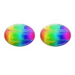 Colors Rainbow Chakras Style Cufflinks (oval)