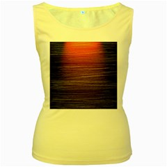 Background Red Orange Modern Women s Yellow Tank Top
