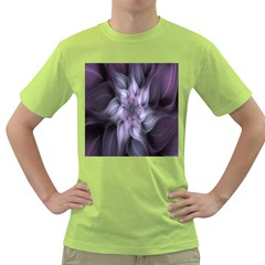 Fractal Flower Lavender Art Green T Shirt