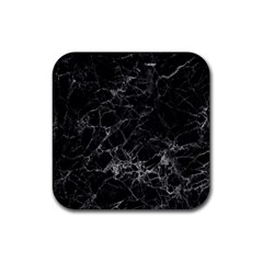 Black Texture Background Stone Rubber Square Coaster (4 Pack)