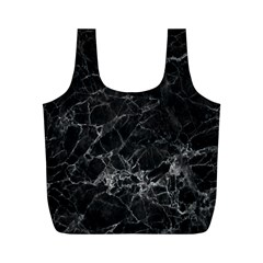 Black Texture Background Stone Full Print Recycle Bags (m)