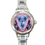 Sacred Geometry Mandelbrot Fractal Round Italian Charm Watch Front