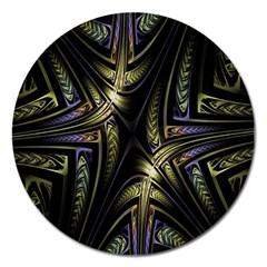 Fractal Braids Texture Pattern Magnet 5  (round)