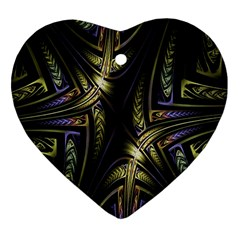 Fractal Braids Texture Pattern Heart Ornament (two Sides)