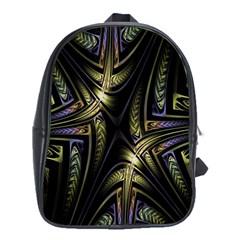 Fractal Braids Texture Pattern School Bag (xl)