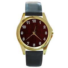 Grunge Brown Abstract Texture Round Gold Metal Watch