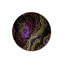 Abstract Fractal Art Design Rubber Round Coaster (4 Pack)