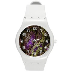 Abstract Fractal Art Design Round Plastic Sport Watch (m)