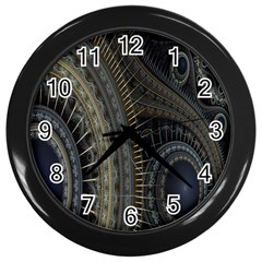 Fractal Spikes Gears Abstract Wall Clocks (black)