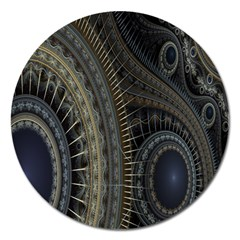 Fractal Spikes Gears Abstract Magnet 5  (round)