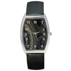 Fractal Spikes Gears Abstract Barrel Style Metal Watch