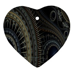 Fractal Spikes Gears Abstract Heart Ornament (two Sides)