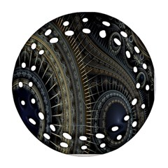 Fractal Spikes Gears Abstract Round Filigree Ornament (two Sides)
