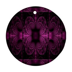 Fractal Magenta Pattern Geometry Round Ornament (two Sides)