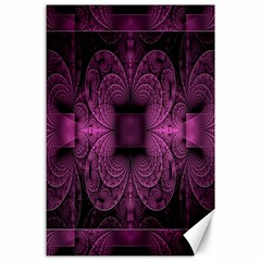 Fractal Magenta Pattern Geometry Canvas 24  X 36