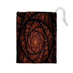 Fractal Red Brown Glass Fantasy Drawstring Pouches (large)