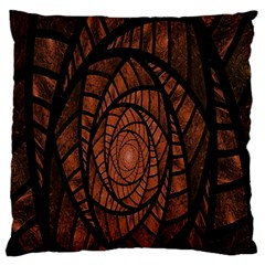 Fractal Red Brown Glass Fantasy Large Flano Cushion Case (one Side)