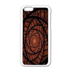 Fractal Red Brown Glass Fantasy Apple Iphone 6/6s White Enamel Case