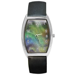 Frosted Glass Background Psychedelic Barrel Style Metal Watch