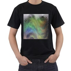 Frosted Glass Background Psychedelic Men s T Shirt (black) (two Sided)