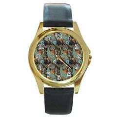 Pattern Background Fish Wallpaper Round Gold Metal Watch