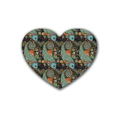 Pattern Background Fish Wallpaper Heart Coaster (4 Pack)
