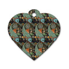 Pattern Background Fish Wallpaper Dog Tag Heart (one Side)
