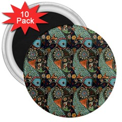 Pattern Background Fish Wallpaper 3  Magnets (10 Pack)