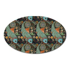Pattern Background Fish Wallpaper Oval Magnet