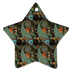 Pattern Background Fish Wallpaper Star Ornament (two Sides)