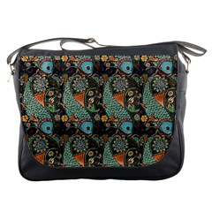 Pattern Background Fish Wallpaper Messenger Bags