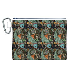 Pattern Background Fish Wallpaper Canvas Cosmetic Bag (l)