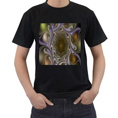 Fractal Waves Whirls Modern Men s T Shirt (black) (two Sided)