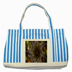 Fractal Waves Whirls Modern Striped Blue Tote Bag