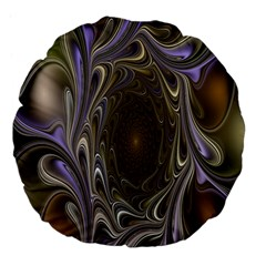 Fractal Waves Whirls Modern Large 18  Premium Flano Round Cushions