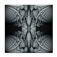 Fractal Blue Lace Texture Pattern Tile Coasters