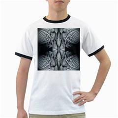 Fractal Blue Lace Texture Pattern Ringer T Shirts