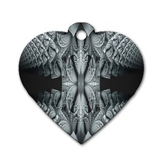 Fractal Blue Lace Texture Pattern Dog Tag Heart (one Side)