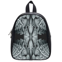 Fractal Blue Lace Texture Pattern School Bag (small)