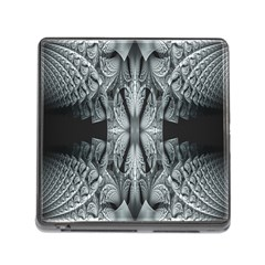 Fractal Blue Lace Texture Pattern Memory Card Reader (square)